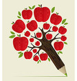 Red apples tree pencil concept vector image