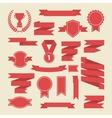 Red ribbonsmedalaward cup setBanner web vector image vector image