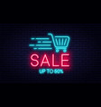 sale neon sign and discount concept bright vector image