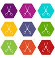 scissors icon set color hexahedron vector image vector image