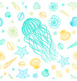 seamless pattern with jellyfish and shells in line vector image vector image