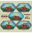 set farm mill windmill rural landscape vector image