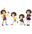set of cute girl character vector image vector image