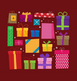 set of icons of gift boxes flat vector image vector image