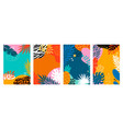 set summer cards with tropical leavesanimal print vector image