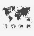 set transparent globes earth world map vector image vector image