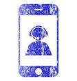 smartphone operator contact portrait textured icon vector image vector image