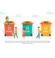 tiny people recycling garbage vector image vector image