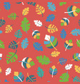 tropical leaves hand drawn seamless pattern black vector image