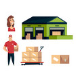 warehouse logistics collection vector image