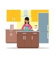 woman cooking salad vector image vector image
