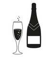 a glass and a bottle of champagne icon vector image vector image