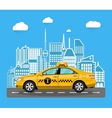 abstract urban cityscape with taxi cab vector image vector image