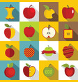 apple icons set design logo flat style vector image vector image