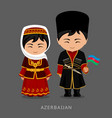 azerbaijanis in national dress with a flag vector image vector image