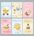 baby shower cards boy girl birthday celebrate vector image