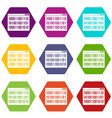 binary code icon set color hexahedron vector image vector image