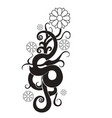 black and white abstract flower line ornate vector image