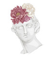 bust apollo with flowers ancient god vector image