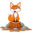 cartoon happy fox sitting on tree stump vector image vector image