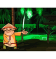cartoon man in a Vietnamese hat in night park vector image vector image