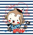 cute monkey sailor cartoon vector image vector image