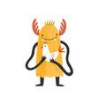 cute smiling wild monster alien or mutant with vector image
