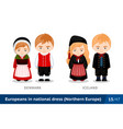 denmark iceland men and women in national dress vector image vector image