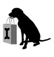 Dog shopping bones vector image vector image
