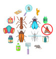 exterminator icons set cartoon style vector image vector image