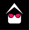 Eye wear shop logo- House with fashion eyeglass vector image vector image