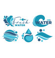 fresh water labels with drops and waves vector image