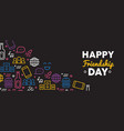 friendship day web banner of social party icons vector image vector image
