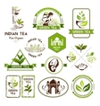 Green tea labels badges and banners vector image vector image