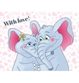 Greeting card with love Lovers elephants on a vector image vector image