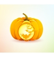 Halloween pumpkin with a carved bats vector image vector image