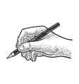 hand writes with a ballpoint pen sketch vector image