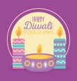 happy diwali festival diya lamps with candles vector image vector image