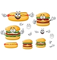 Happy hamburger hot dog and cheeseburger vector image vector image