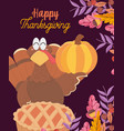 happy thanksgiving day turkey with pumpkin and vector image