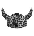 horned helmet mosaic of squares and circles vector image vector image