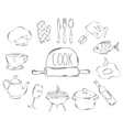 Large collection of line icons in hand drawn style vector image vector image
