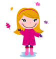Little cute autumn girl isolated on white vector image vector image