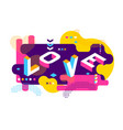 love colored memphis style isometric word design vector image vector image