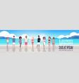 mix race people group on sunrise beach seaside vector image vector image