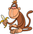 monkey with banana cartoon vector image vector image