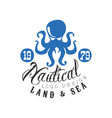 nautical logo design land and sea retro emblem vector image vector image