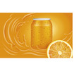 orange juice can slice and orange splash vector image vector image