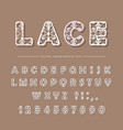 paper cut out filigree decorative font laser vector image vector image