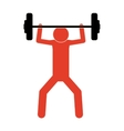 pictogram colorful with man weightlifting medium vector image vector image